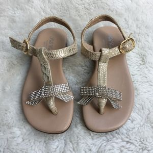Pili Carrera Kids Rhinestone Bow Sandals Size 8 US